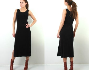 Vintage Black Dress / Long Black Dress / Sleeveless Dress / Evening Dress / Stretchy Dress / Spandex Dress / Medium Dress / 90s Dress