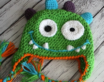 Baby Hat - Monster Hat - Baby Monster Hat - Nommy the Monster Hat - Cake Smash Monster Hat -  Baby Boy Ear flap Hat - by JoJo's Bootique