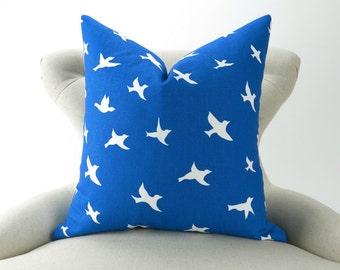 Royal Blue Pillow Cover -MANY SIZES- Cobalt Throw Pillow/Cushion, Bird Cushion,  Euro Sham, Bird Silhouette Pemier Prints
