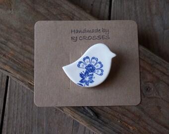 Blue flower ceramic bird brooch