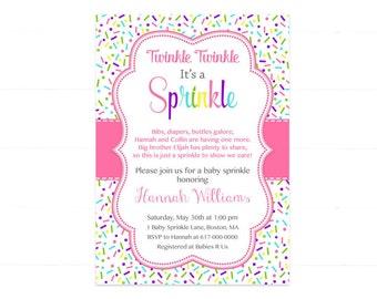 Pink Baby Girl Sprinkle Invitation, Sprinkles Pink Baby Sprinkle Invitation, Pink Purple Blue Baby Girl Sprinkle, printable Printable