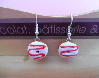 White donuts polymer pierced earrings