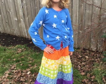 6 Tiered Gathered Girls Maxi Rainbow Skirt
