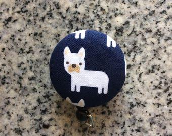 Pug dog retractable ID Badge holder, pug, dog, Nurses badge, fabric badge reel, ID clip, badge clip