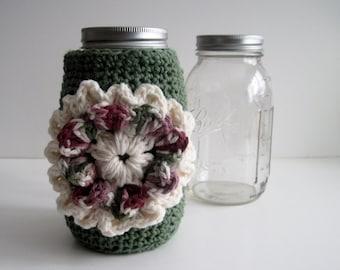 Mason Canning Jar Cozy - Sage Green with Flower Applique