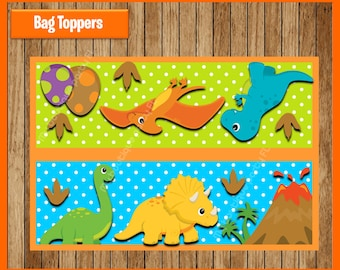 Dinosaurs Toppers instant download, Printable Dinosaur Bags toppers, Dinosaurs Treat bags toppers