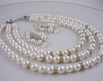 Bridal Necklace Set - Bridal Pearl Necklace and Earrings - Wedding Jewelry - Triple Strand Bridal Set. BridalDesignsbyJo