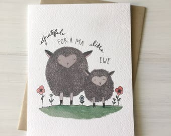 A Ma Like Ewe - sheep card, mothers day card, mom birthday card, gift for mom, funny mothers day, card for mom, pun card, watercolor card