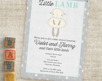 Blue Lamb Baby Shower with Gray Grey Stripes Baby Boy Little Lamb Invitations Custom Invites with Professional Printing Option