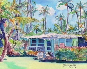 Kauai Blue Cottage 2 art print 5x7 from Kauai Hawaii teal aqua tropical plantation