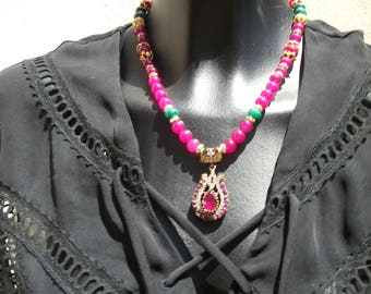 Ruby pendant necklace.