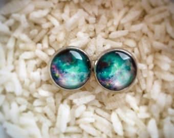 Purple and Green Galaxy Earrings, Galaxy Earrings, Galaxy Studs, Nebula Earrings, Astronomy Earrings, Milky Way Galaxy, Galaxy Theme