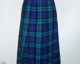 Vintage Tartan Skirt ~1980's Opulence Skirtmakers  Pleated Skirt ~ Wool Skirt ~ Green Purple Black Plaid Tartan Skirt ~ Plaid Skirt
