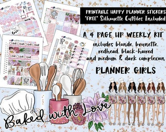 Printable HP Weekly Planner Stickers / Baked with Love / Happy Planner Classic / Printable Planner Stickers /Cut Files/ All Planner Girls
