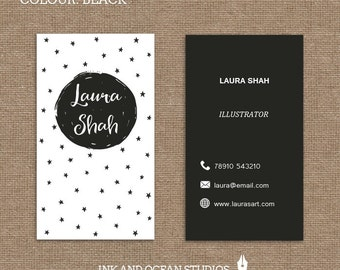 Printable stylish elegant STARS AND DOT business card, calling card for your business in a choice of 5 colours