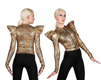 Futuristic Jacket; Holographic Gold, Futuristic Clothing, Dancewear, Rave Outfit, EDM Rave Wear, Burning Man Clothing, Glam Rock, LENA QUIST