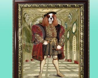 FRAMED Cavalier King Charles Spaniel Blenheim King Giclee 8 x 10 Print Whimsical Wall Art Anthropomorphic Anthro Dog Animal Wearing Clothes