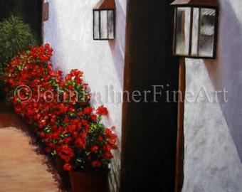 Spanish doorway with geraniums - print from my original pastel painting.