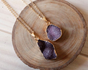 Delicate Maroon Druzy Gold Necklace/ Druzy Stone Necklace/ Delicate Druzy Gemstone Necklace/ Sparkly Glitter Druzy Pendant Necklace (NDP51)