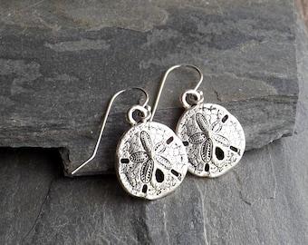 Silver Sand Dollar earrings / Silver plated beach earrings / Beach girl earrings