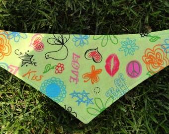 Dog Bandana - Groovy Print, tie style dog bandana - xs, s