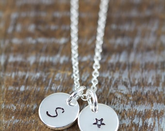 Personalized Tiny Silver Initial Tag Necklace / Dainty Disks / Monogram Pendant / 925 Sterling Silver