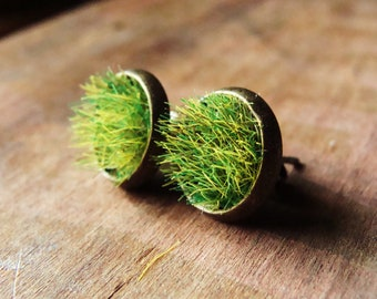 Green Grass Earrings, Green Plant Jewelry, Nature Lover, Moss Earrings, Real Moss Earrings, Studs, Stud Earrings, Unique Gift Christmas Gift