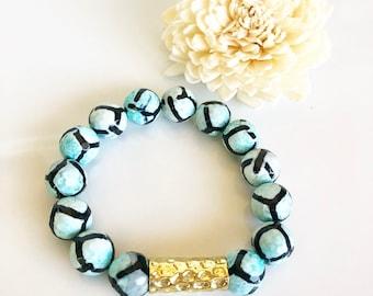 Turquoise Agate Beaded Bracelet