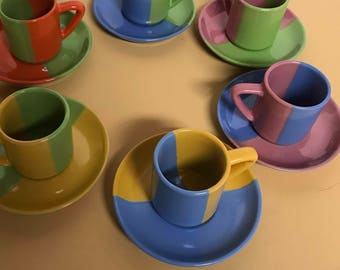 Colorful Mod Expresso cups and saucers, Food and Drink, Kitchen, Dining, coffee sets, expresso cups,