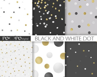 Black and white digital paper gold dot gray grey dotted pattern polka dots confetti scattered random elegant scrapbooking instant download