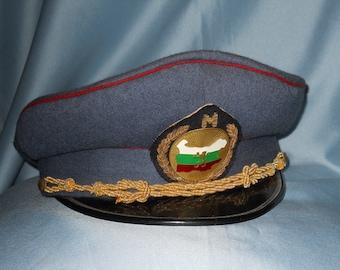 Soviet Bulgarian visor cap ! Militaria ! Embroidered hat badge !