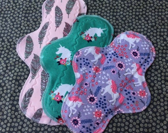 Ready to Ship, Set of 3 Waterproof Reusable Cloth Mama Pads, Starter Kit, Moderate and Heavy, Unicorns, Other Sizes Available Upon Request