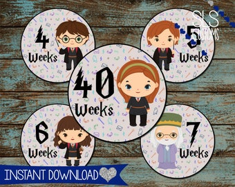 Harry Potter Inspired Weekly Printable Pregnancy Stickers! INSTANT DOWNLOAD! 4inch Rounds - Perfect for Photos and Scrapbooks!