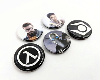 """5 Pack 1.25"""" Half-Life 2 Valve Pin-back Buttons or Magnets with Gordon Freeman, Alyx Vance, Civil Protection and Logos"""
