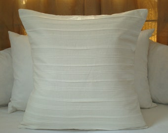 White Linen Pillow Cover With Pleated Detail