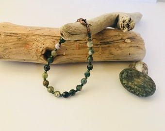 Simple, beautiful Moss Agate Bracelet