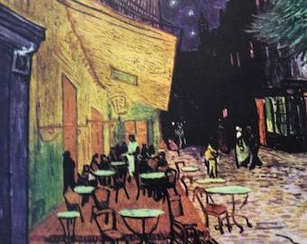 Van Gogh - Cafe Terrace at Night -  Beautiful art print - sidewalk cafe scene Paris - 8 by 10 print wall art poster framed night sky stars