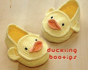 Duckling Baby Booties Crochet Pattern Duck Preemie Socks Animal Shoes Crochet Patterns Yellow Duck Applique Duckling Newborn Slippers Orange