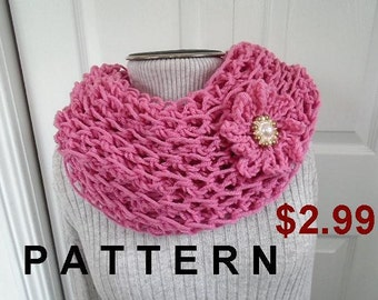 CROCHET PATTERN - Quick Easy Cowl -  - easy beginner - Pink scarf, neckwarmer, shawl, #816 - Pink Lacy Cowl