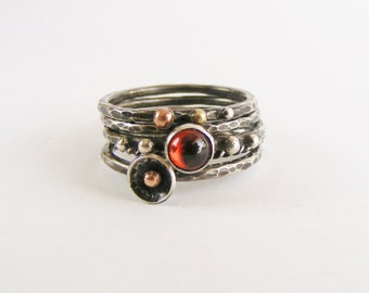 Sterling Silver Stack Ring Set - Garnet