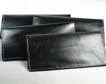 Leather Checkbook Cover, Check Book Cover, Black Leather - Monik- Hand Sewn