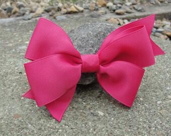 Girl's Hair Bow (Solid Dark Pink Grosgrain Bow)! Large Pinwheel Bow