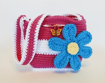Crochet Pattern - Girl's Flower Purse Crochet Pattern #501 - Instant Download PDF