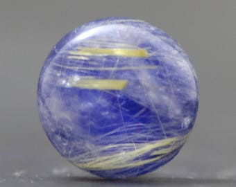 Lapis Lazuli Gold Rutile Doublet Cabochon Round Calibrated Semiprecious Stone Golden Rutilated Quartz (B1703)