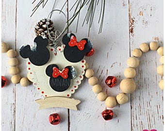 Disney Family Personalize Christmas Ornament. Mickey and Minnie Holiday Ornament. Gift for Disney Lover. Gift for her. Gift under 25.