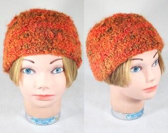 Vintage Orange Bucket Knit Hat