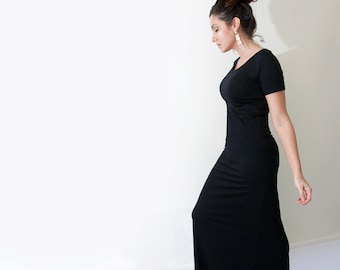 Maxi Dress • Short Sleeve Dresses • Women's Tall or Petite Long Length • Ethically made in our USA loft • L415 & Co Clothing (#415-657)