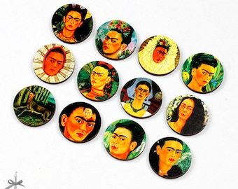 20% off - 12pcs Different 25mm 30mm Rounds Handmade Wooden Vintage  Collection Charms / Pendants (WN-I)