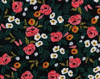 PAINT ROSES BLACK (8024-25) Half Yard - Rayon by Riffle Paper Co