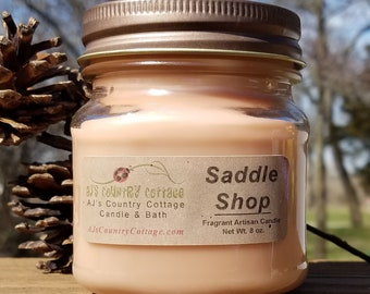 SADDLE SHOP CANDLE - Leather Candles, Cowboy Candles, Strong Candles, Scented Candles, Men's Candles, Man Cave Candles, Men's Gifts, New Car